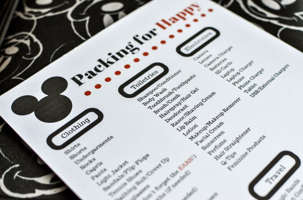Simple Disney World Packing List - A basic list to inspire ideas of needs to pack to travel to Disney.