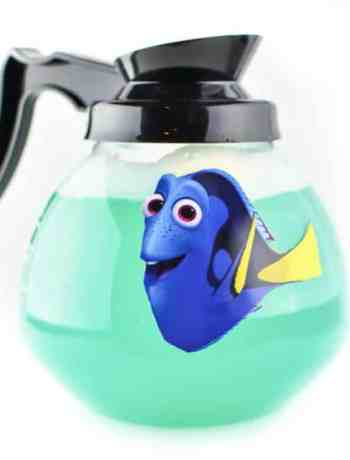 Check out this fun Dory Party Punch and Pitcher, inspired by Finding Dory. A fun DIY decoration for this Disney theme party for kids. Bring Under the Sea recipes to life with this idea.