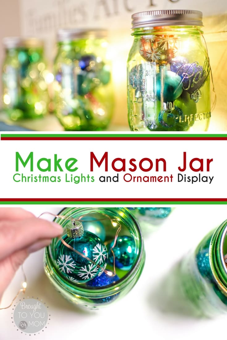 A Mason Jar Christmas Display with simple steps and items to create DIY Christmas decor that is stunning on any shelf. An easy Christmas craft to create.