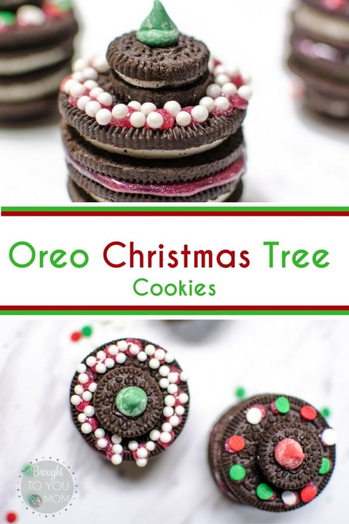 These Oreo Christmas Tree Cookies are a cute edible display for your next Christmas party. Even a great Christmas recipe for kids to do.