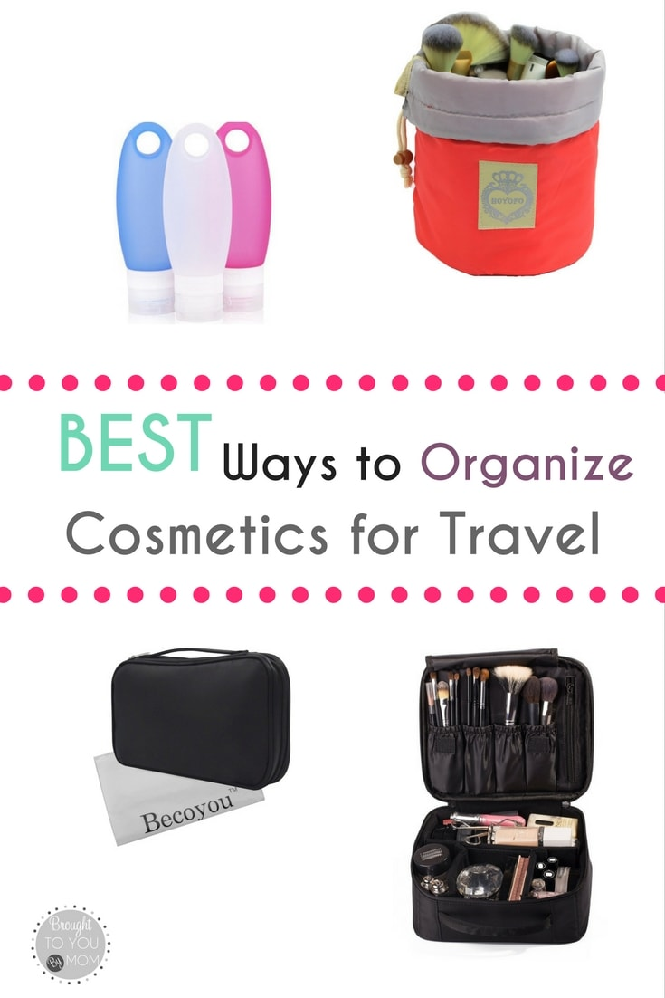 Best ways to organize cosmetics for travel. Travel cosmetic organizers that help keep toiletries together and tips for packing.