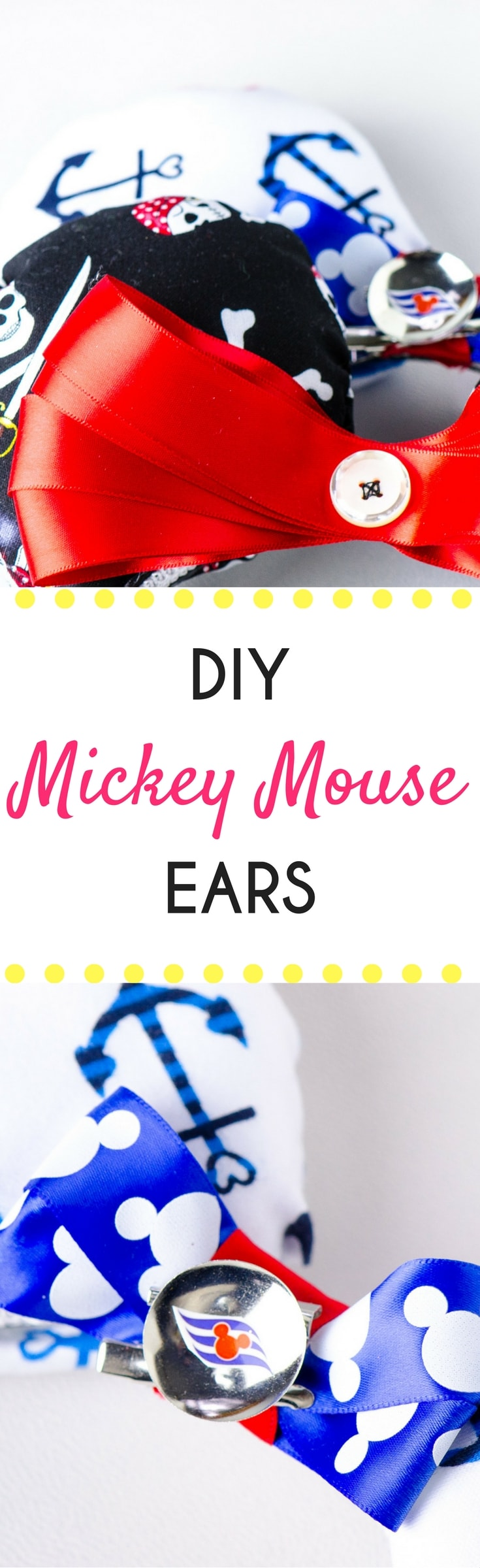 These instructions will teach you how to make Mickey Ears with fabric. These DIY Mickey Ears take some time, but are fun to create! Customize Mickey Ears to what you love.