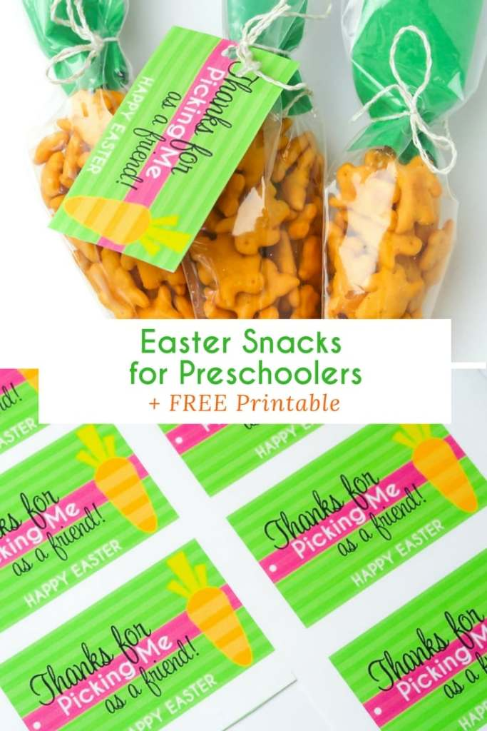 Easter Snacks for Preschoolers that are easy to make for class or for fun. Including a colorful printable to attach for an extra touch.