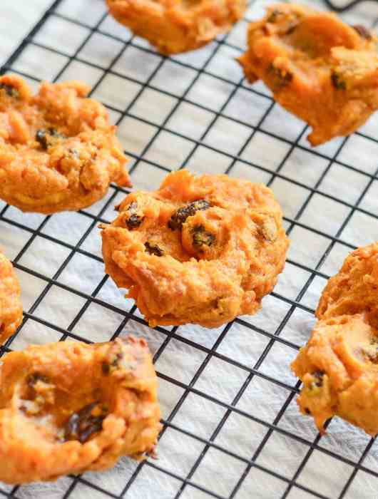 Chewy Pumpkin Raisin Bites that are pumpkin cookies without butter and simple enough for the kids to help make in the kitchen.