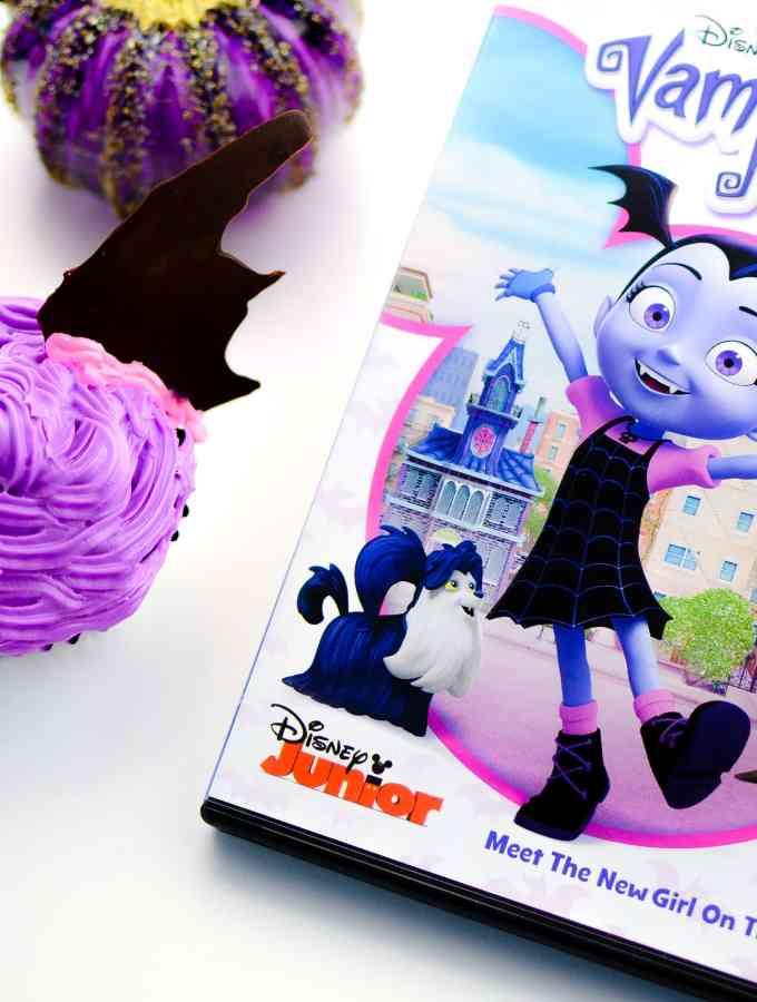 Vampirina Cupcakes to celebrate bringing Vampirina home on Disney DVD. Fun Disney themed cupcakes for parties, movie nights and more!