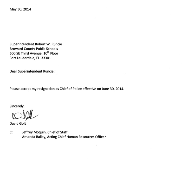 police officer resignation letter example