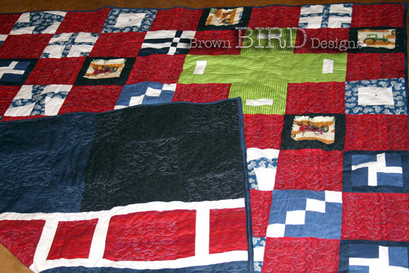 front and back of Tractor Quilt #3
