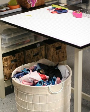 Use a large basket for fabric trash to use in stuffing