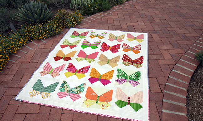 Butterfly quilt on path