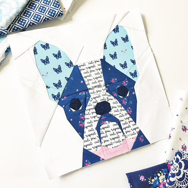 French Bulldog paper pieced pattern