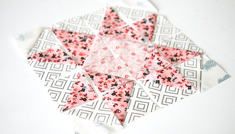 Use every bit of your fabric. This tutorial used the scraps from diagonal cuts.