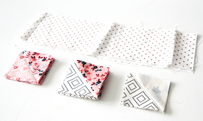 These are the pieces used in the Half Square Triangle scraps Tutorial.