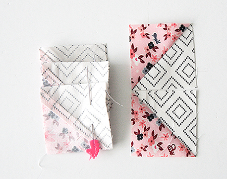 Pin your Half Square Triangle Scraps together.