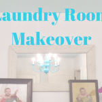 budget laundry room makeover chandelier update diy shelf