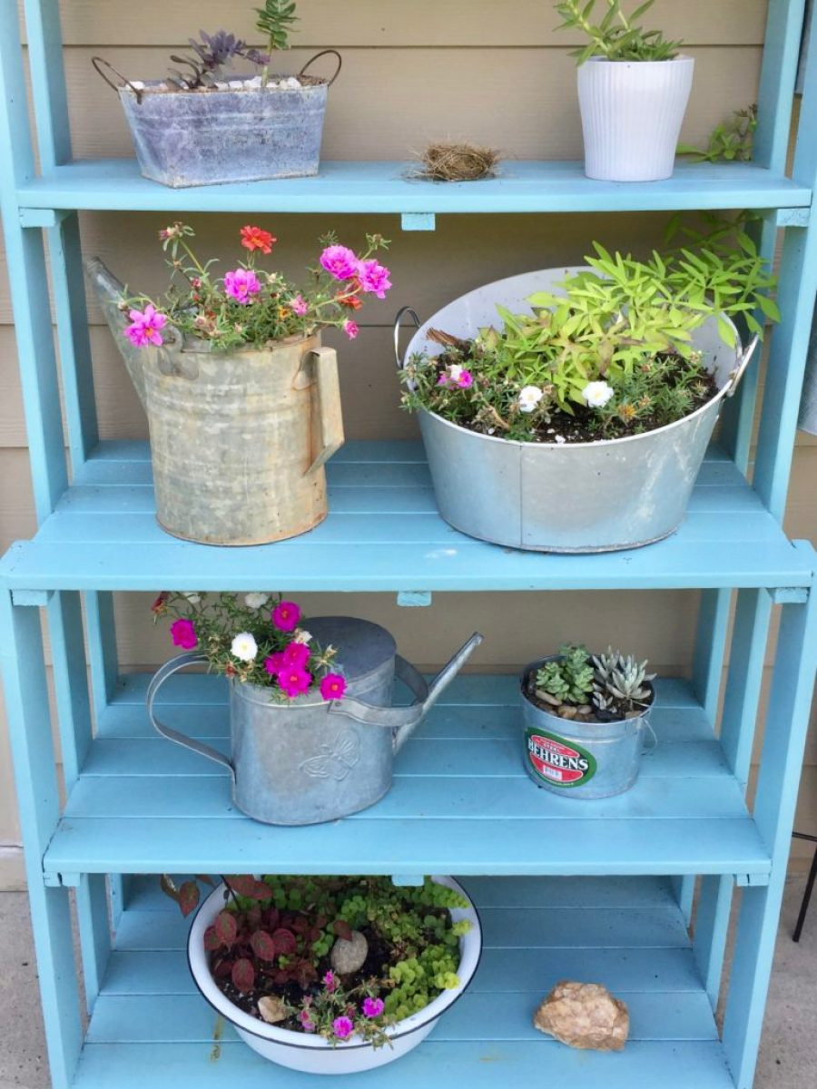 plant shelf makeover with citristrip farmhouse style