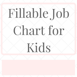 Free Fillable Job Chart for Kids