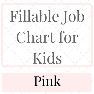 Fillable Job Chart for kids Pink