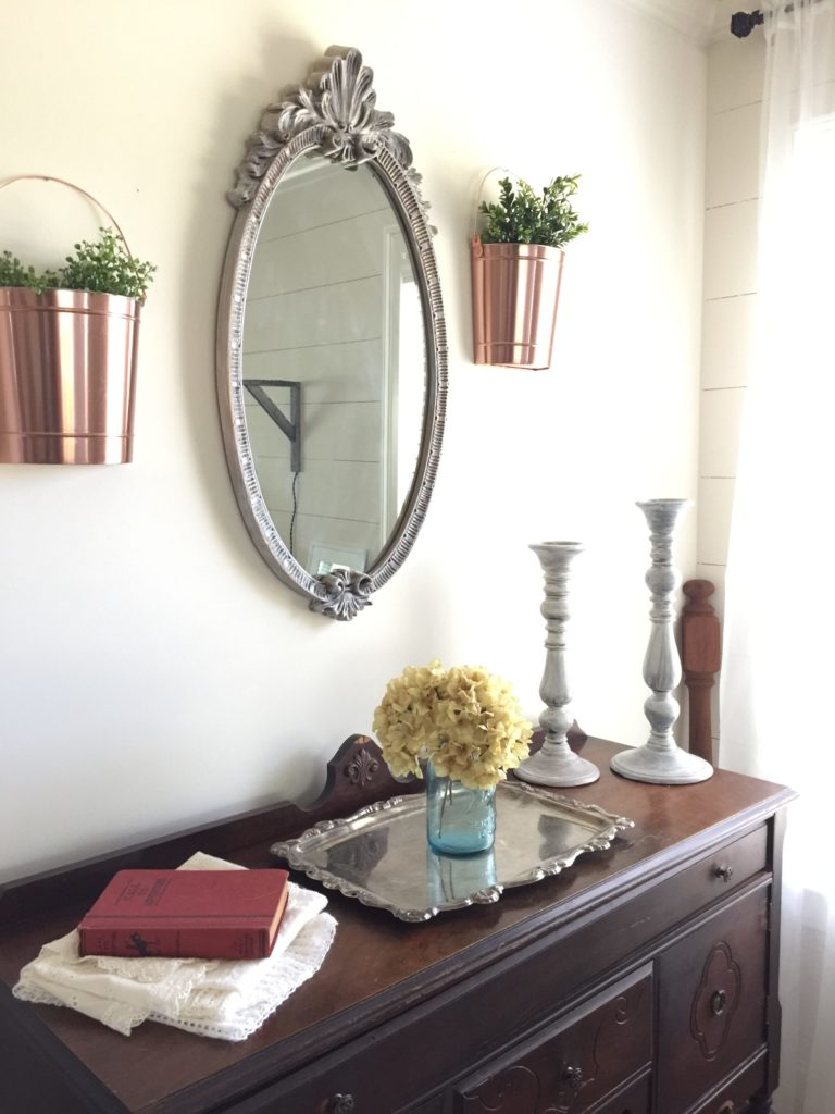 farmhouse style decor from garage sale finds