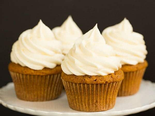 Pumpkin Cupcakes with Cream Cheese Frosting   browneyedbaker.com
