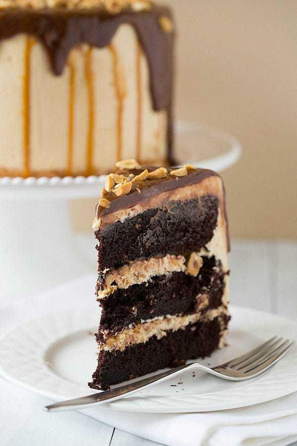 Top 10 List: Favorite Cake Recipes >> Snickers Cake | browneyedbaker.com