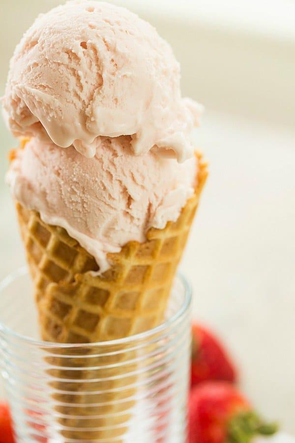 Roasted Strawberry & Buttermilk Ice Cream | browneyedbaker.com #recipe