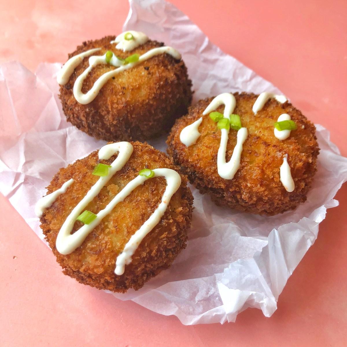 Loaded Mashed Potato Balls with Chili Honey Sour Cream