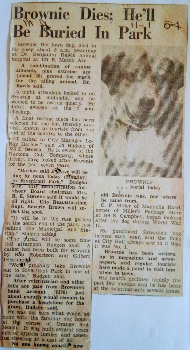 Brownie's Obituary for November 1, 1954 Daytona Beach News Journal.