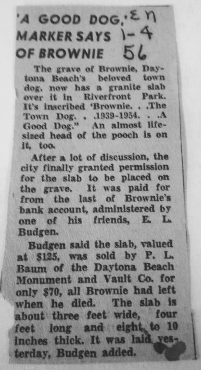 "January 4, 1956: ""A Good Dog"" marker put on Brownie's grave"