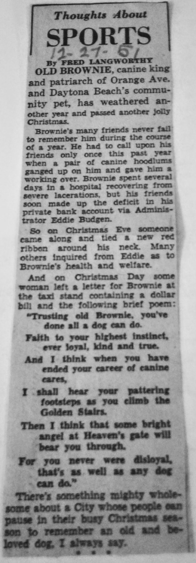 December 27, 1951: Thoughts turn to Brownie on Christmas