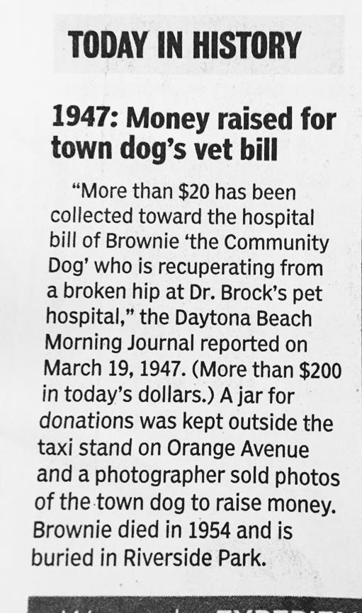 """This """"Today in History"""" blurb from the Daytona Beach News Journal was published on March 19, 2017 proving Brownie still matters to the residents of Daytona Beach."""