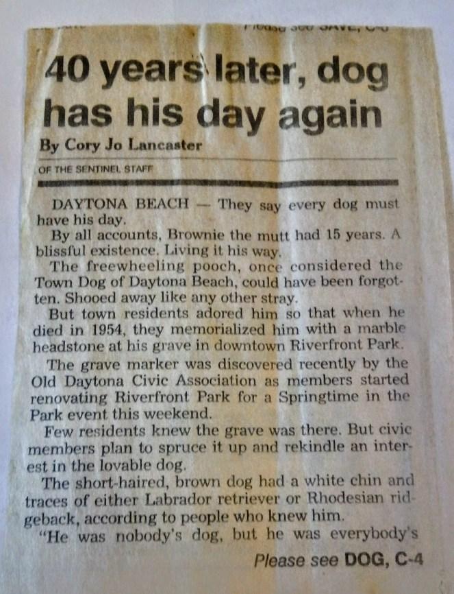 Brownie's grave sparks memory