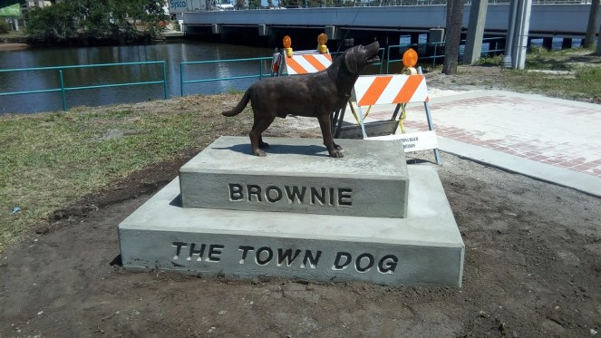 The Brownie Statue is fully installed on April 14, 2018. Work continues on rest of memorial to Brownie the Town Dog of Daytona Beach.