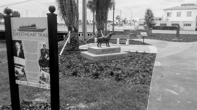 Brownie the Town Dog Grave and Memorial in downtown Daytona Beach, FL is part of the Sweetheart Trail which combines Daytona Beach history with parks and trails.