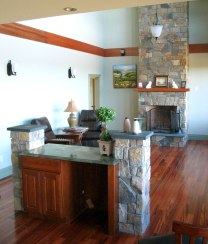 Mosaic Thin Veneer, Simulated Flat-Arch Fireplace Opening, Wood Mantel, Raised Black Slate Hearth