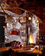 Large Fieldstone Mixed Ashlar & Veneer, Antique Granite Accents, Bread Oven w/Brick Opening, Woodbox Below