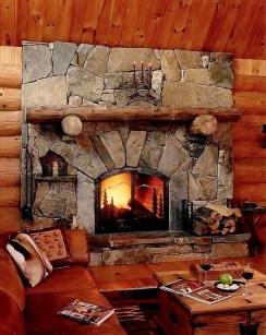 Large Mosaic Fieldstone w/log Mantel & Supports, Raised Flagstone Hearth