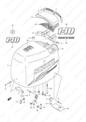 Fig 48A  Engine Cover  2010 to 2011  Suzuki DF 140