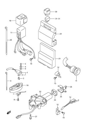 Fig 26  PTT SwitchEngine Control Unit  Suzuki DF 300 Parts Listings  2007 to SN 30002F