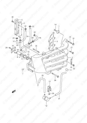 Fig 10  Inlet Manifold  Suzuki DF 70 Parts Listingss  2001