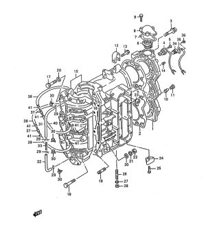 Fig 1  Cylinder  Suzuki DT 75 Parts Listings  1988 to 1997