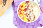 Tropical bowl with super foods for breakfast