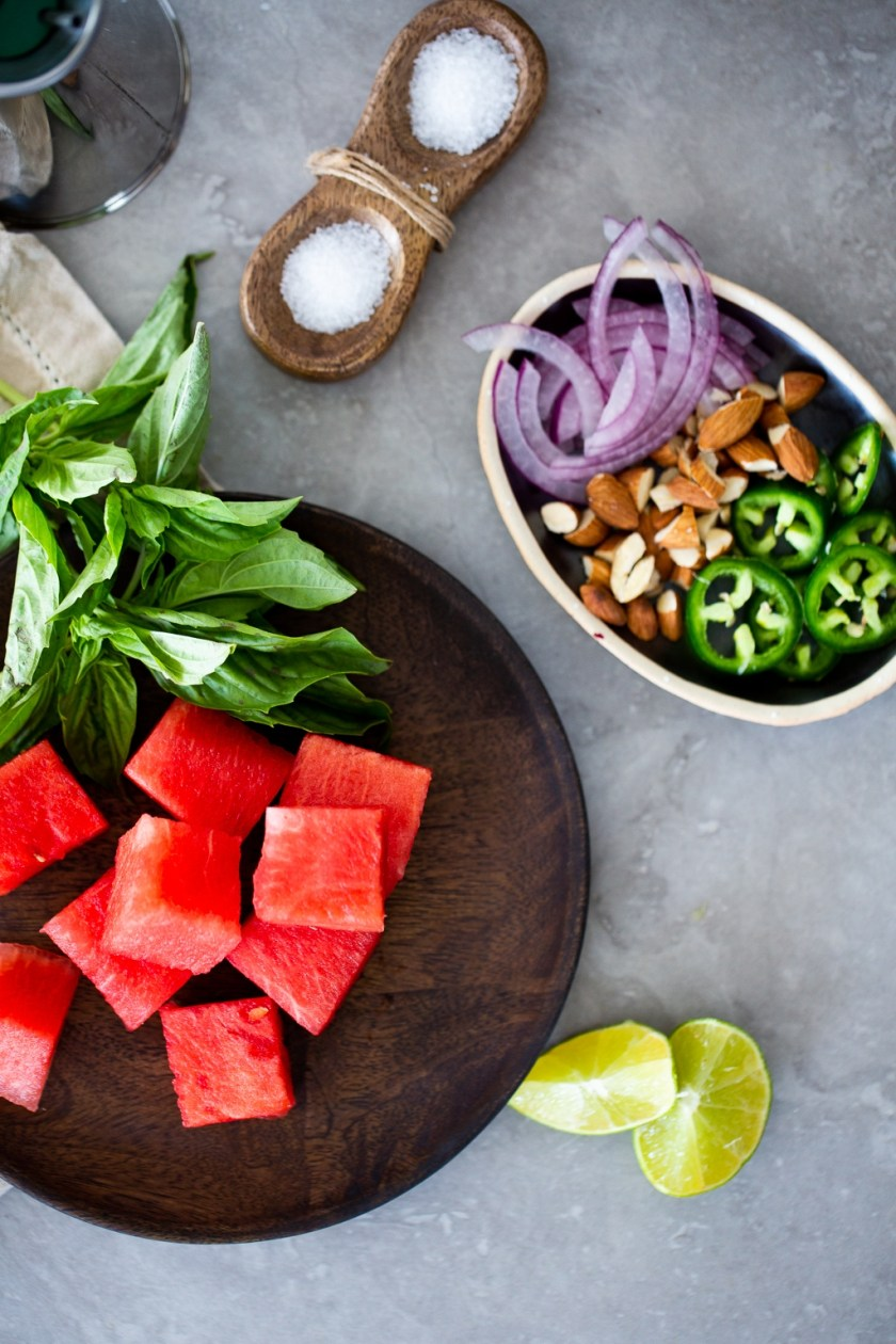 Ingredients to prepare watermelon salad.