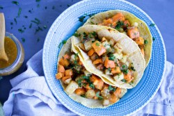 Uploaded ToSweet potato and potato tacos with smoky tomatillo and chipotle sauce