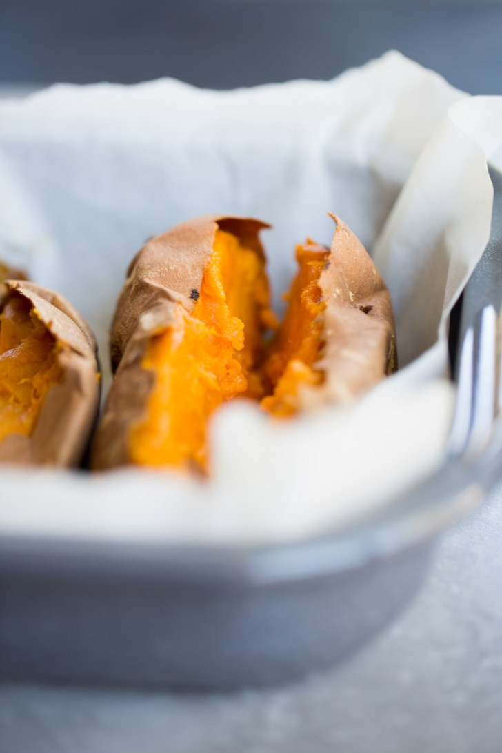 sweet potato on a baking dish