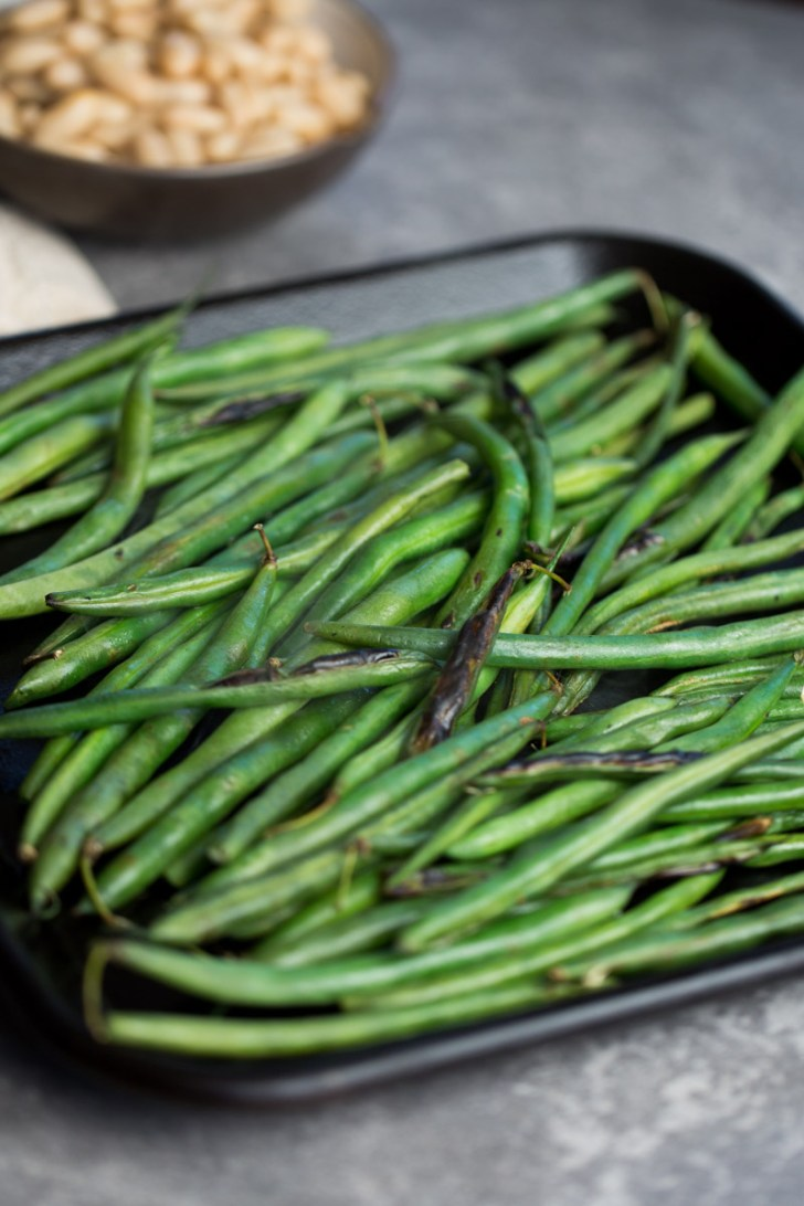 Green beans on a griddle
