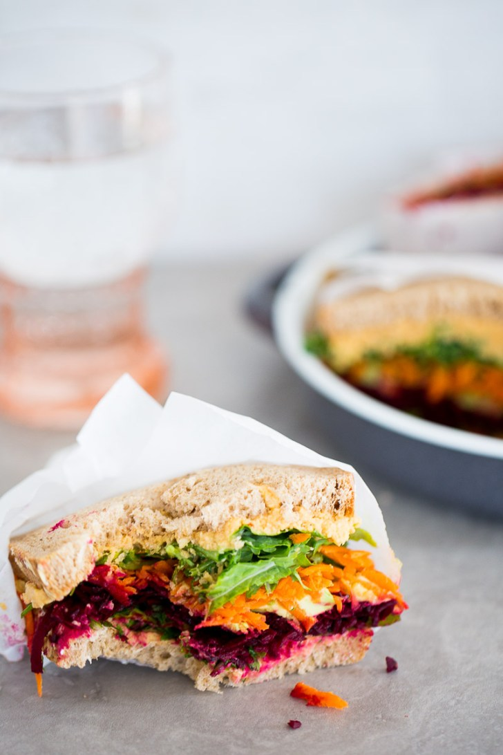 Vegtable sandwich with chipotle pepper hummus