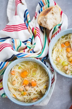 This recipe of chickpea vegan noodle soup is to die for.