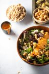 Farro salad with roasted cauliflower and romesco sauce