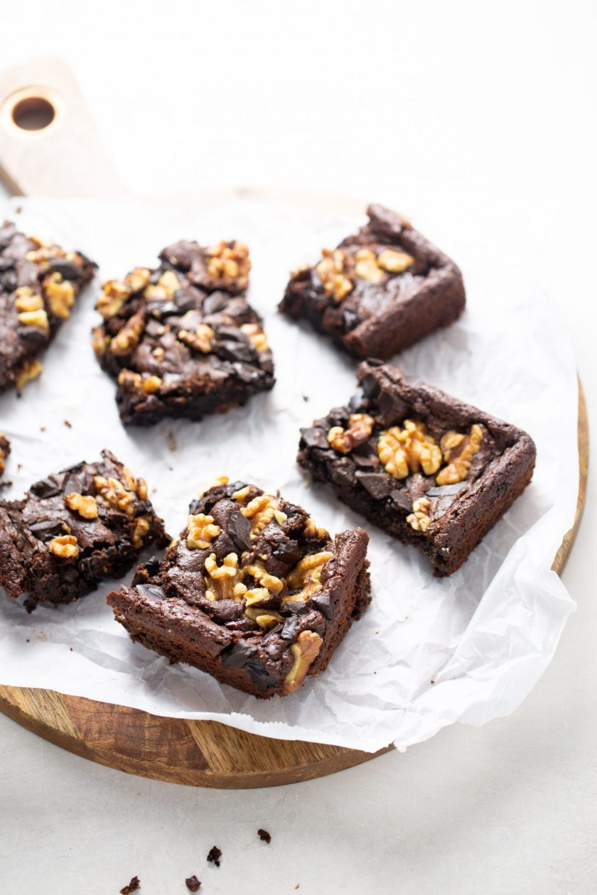 Black bean brownies with walnuts and chpped chocolate