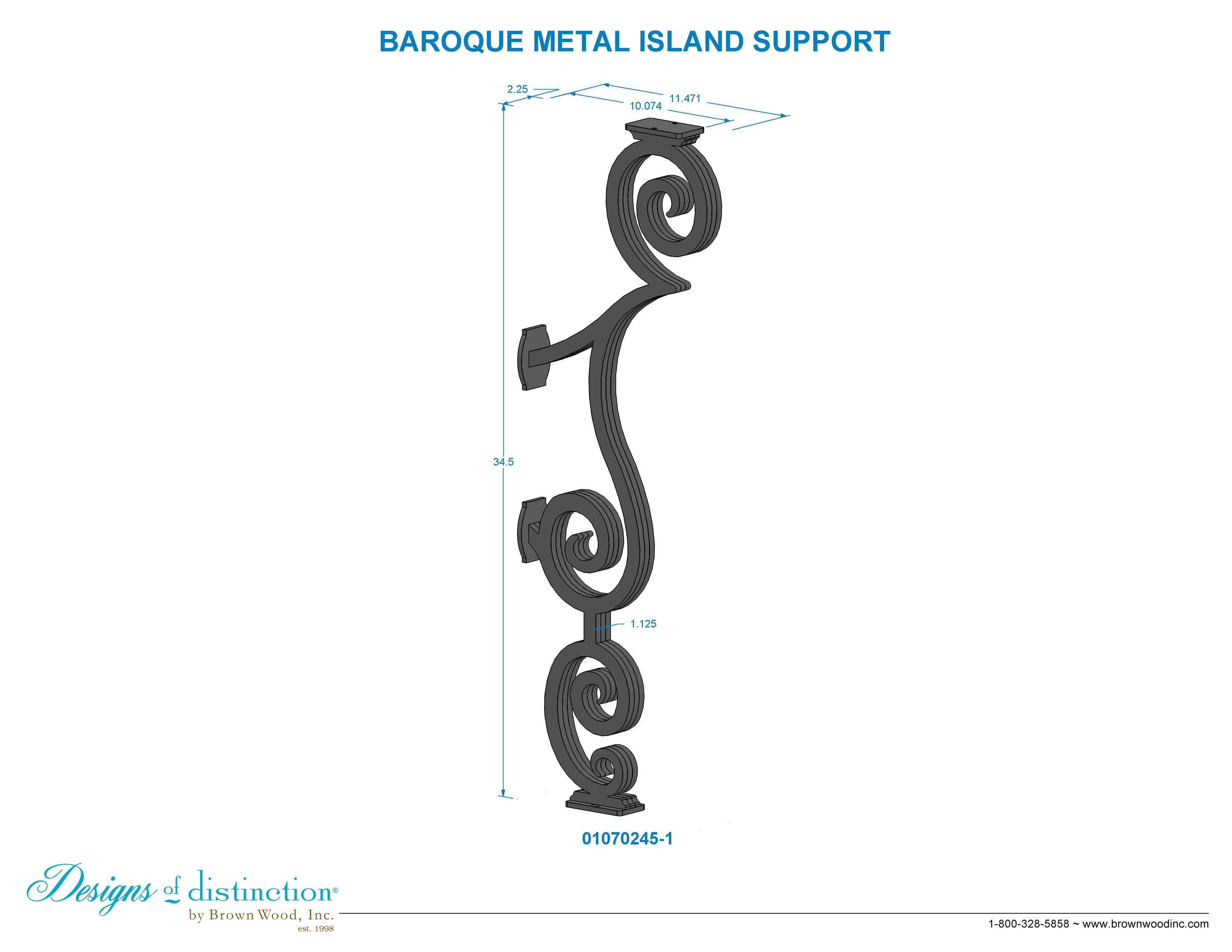 Baroque Iron Island Support